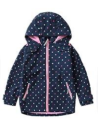 M2C 女孩连帽羊毛内衬软壳夹克防风外套