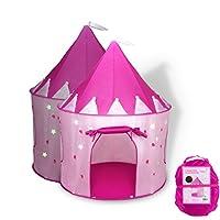 FoxPrint 公主城堡游戏帐篷在黑暗星中发光,可方便地折叠到手提箱中,您的孩子会享受这款可折叠的弹出式粉色游戏帐篷/室内玩具屋