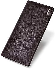 Banuce 真皮长款双折钱包男式手拿包超大容量棕色