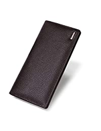 Banuce 真皮長款雙折錢包男式手拿包超大容量棕色
