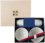 有田烧 饭碗&茶杯套装 樱花舞图案 带筷子 5