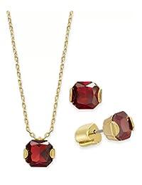 Kate Spade 纽约金色公主切割方晶锆石红色吊坠项链和耳钉套装,40.64 厘米 + 7.62 厘米延长器