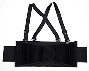 Cordova SB-M Back Support Belt with Attached Suspenders, Black, Medium