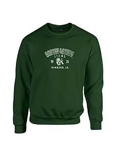 NCAA 东南部路易斯安那雄狮队 50/50 混纺 226.8 克 圆领运动衫,森林,大号