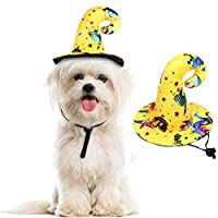 Orgrimmar 万圣节狗帽宠物女巫帽宠物新颖头饰服装骷髅配饰(黑色) 黄色