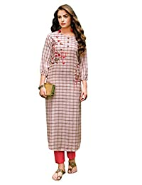 Ladyline 女士棉质 Kurtis 束腰宽松上衣印度 Kurti 连衣裙