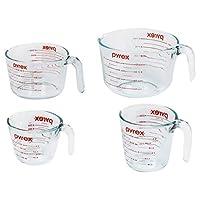 Pyrex 玻璃量杯套装(4件,适用于微波炉和烤箱),透明