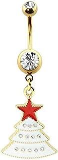 Covet Jewelry 镀金宝石搪瓷圣诞树 316L *钢脐环