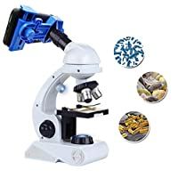 Kidcia 儿童显微镜,初学者显微镜套件,蓝色/白色,带 LED 80X 200x 和 450x 放大科学玩具,教育玩具生日礼物,适合男孩和女孩