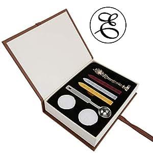 蜡印章套装,Yoption 经典复古风格黄铜色复古字母大写字母密封蜡印章套装,复古印章制作者礼品盒套装,理想的礼物 E AGUS14808