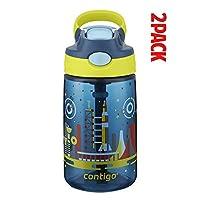 Contigo AUTOSPOUT 吸管 Gizmo 翻转儿童水瓶,14 盎司,红宝石带猫头鹰 Nautical with Space Station Pack of 2 14 oz. Pack of 2