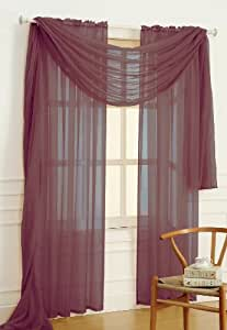 Dainty Home Solid Sheer Voile Window Panel, 56 by 84-Inch, Rum Raisin/Brown