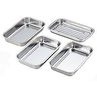 Yoshikawa 烤盘 带盖和铁丝网 不锈钢 银色 料理盘套装 15.3×24.2×3.7cm 日本制 121740