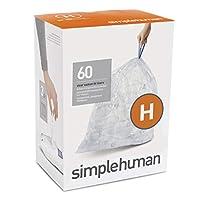 simplehuman Code D,定制适合仓位衬垫 透明 3 x Pack of 20   60 Liners CW0286