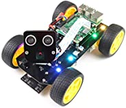 Freenove 4WD 智能车套件 适用于覆盆子 Pi 4 B 3 B + B A+,面部跟踪,线跟踪,光线跟踪,障碍物避免,彩色光,相机超声波伺服无线遥控
