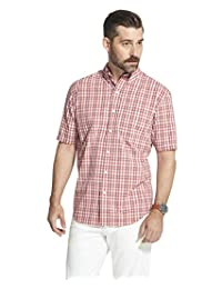 Arrow 1851 男式 Hamilton 府綢短袖系扣格子襯衫 Cranberry 2 XX-Large