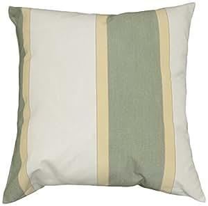 人形条纹户外枕头,鼠尾草/亚麻/奶油色