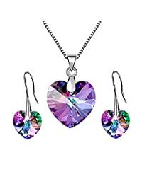 PRESIDENTS DAY SALE Iridescent Blue or Purple Angel Heart Pendant Necklace Earring Jewelry Set for Women Made With Swarovski *s - BOX, CARD, ENVELOPE INCLUDED FOR EASY GIFTING Vitrail Light Set