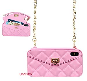 UnnFiko 钱包式手机壳兼容 iPhone 7 / iPhone 8,豪华包设计,钱包翻盖卡袋,软硅胶手机壳带长肩带 iPhone X 粉红色