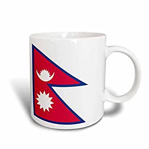 3dRose mug_158388_2 Flag of Nepal Nepalese Rhododendron Red White Blue Sun Crescent Moon South Asia World Country Ceramic Mug, 15-Ounce