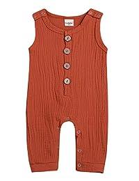 Mini honey 婴幼儿女婴*蓝/棕色纽扣无袖连衫裤短裤夏季套装
