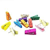 FITULABO 彩色木质推针夹,*脱落装饰木夹,带拇指钉,用于软木公告板,创意纸夹,带手工项目适用于办公室、学校、家庭(12 件装)