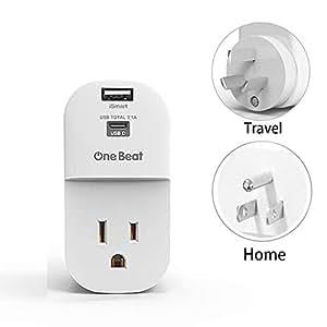旅行适配器插头,带 USB C 适用于澳大利亚、中国、新西兰,非电保护器类型 I 插头电源适配器,带 1 个 US AC 插座,1 个 USB A 和 1 个 USB C 充电端口(总共 3.1A)