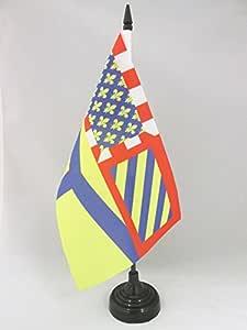 AZ FLAG 法式百货日登桌旗 5 英寸 x 8 英寸 - 法国台旗 21 x 14 厘米 - 黑色塑料棒底座