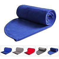 REDCAMP 抓絨睡袋襯墊適合成人溫暖或寒冷天氣,75 英寸/87 英寸長全尺寸拉鏈露營毯,適合室外室內使用帶袋 藍色帶帽 rc1403A