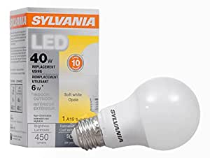 SYLVANIA,40 瓦等效,LED 灯泡,A19 灯,1 个装,柔白,节能,使用寿命更长,价值线,中等灯座,* 6 瓦,2700 千米 Soft White 1包 74076 需配变压器