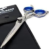 Saaqaans MBS-0011 专业美发 6.5 英寸 J2 钢剪刀 - 非常适合美发沙龙/理发师和家庭用于修剪胡须/胡须和理发(蓝色美国)