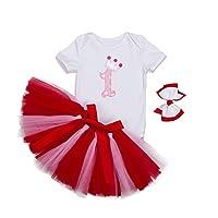 Mornyray 女婴生日短裙套装新生儿公主裙 3 件套 Red 1st Birthday XL(12-24 Months)