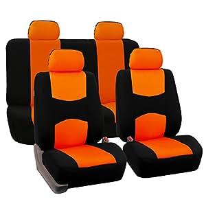 FH Group 通用全套平布面料汽车座椅套,(灰色/黑色) (FH-FB050114,适合大多数汽车、卡车、SUV 或货车) FB050ORANGE114