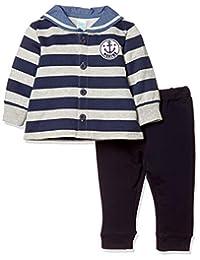 [马赛威斯] 附带锚纹徽章 条纹 长袖 水手领 开衫&裤子套装 婴儿男孩 2922C