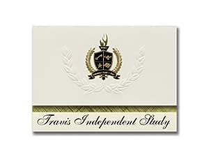 签名公告 Travis Independent Study (Fairfield, CA) 毕业公告,总统风格,25 片精英包装,金色和黑色金属箔封条
