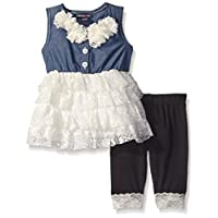 Limited Too Girls' Chambray Lace Rolled Top and Capri Legging
