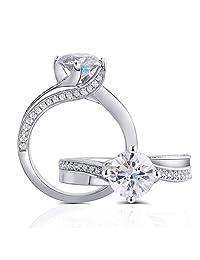 中心 1.5 克拉颜色 (H) 莫桑石订婚戒指单钻点镀铂金银女式