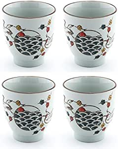 日式风格陶瓷红色皇冠起重机设计陶瓷多宾茶壶带藤柄,38 液体盎司茶壶,带不锈钢滤茶器过滤器,适用于松散叶茶 Tea Cups Set 5 fl oz