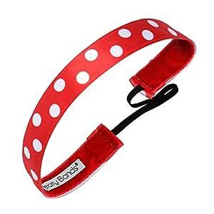 Sweaty Bands 女式女孩头带 - 防滑天鹅绒内衬健身发带 - Do The Polka 圆点红色