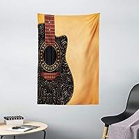 """Ambesonne 吉他挂毯,剪式吉他和复古花卉民间装饰音乐家爱好,壁挂适用于卧室客厅宿舍,浅橙黑色栗色 Multi 1 40"""" W By 60"""" L tap_50427_40x60"""