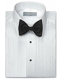 neil allyn 男式燕尾服衬衫聚酯纤维/棉质 laydown 项圈1/ 2英寸褶边