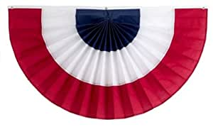 独立弹球和旗帜 3 条纹褶饰风扇,红色/白色/蓝色 36 by 72-Inch 1CFAN36-3RWB