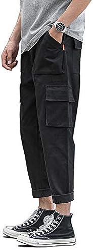 MHSLKER * 純棉寬松直筒休閑男式經典工裝褲,側面多口袋