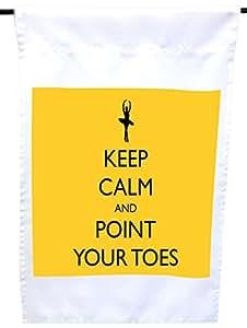 Rikki Knight Keep Calm and Point Your Toes Mustard 黄色芭蕾屋或花园旗,30.48 x 45.72 cm 旗帜尺寸带 27.94 x 27.94 cm 图像