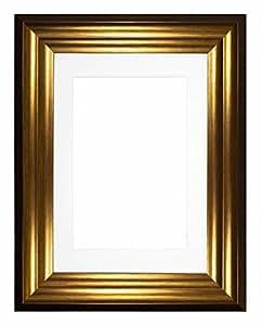 """*盒宽波形相框/相框/海报框架,带定制支架 - M-Wd-Bucharest-Parent Gold Distressed Frame With White Mount 10""""x8"""" for 8""""x6"""" pictures m-Wd-Bucharest-GLDDSTD-WHT-10-8-2"""