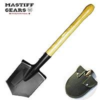Mastiff Gears 僵尸杀手铲,改装军刀铲,重型铲,带硬木手柄和锯齿锯,非常适合露营、远足、钓鱼、自卫和应急