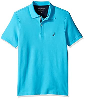 Nautica Men's Slim Fit Short Sleeve Solid Polo Shirt  Calypso Blue X-Small