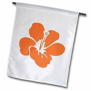 PS Flowers–橙色木槿花–夏威夷花卉–热带艺术–旗帜 12 x 18 inch Garden Flag