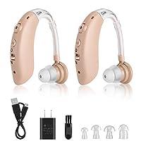 可充电听力放大器 适合老年人的声音放大器 防汗 4 级数字放大器 动态压缩降噪设备 PSAP 成人设备包括 辅助清洁工具(2 件装)