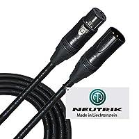 15 英尺 - 由WORLDS BEST CABLES 定制的平衡麦克风电缆 - 使用 Mogami 2549(黑色)电线和 Neutrik NC3MXX-B 和 NC3FXX-B 金色 XLR 插头